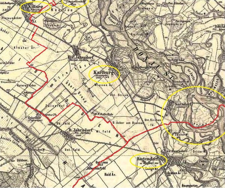 Map 2  Kittsee is in the upper-left corner (with Antonienhof to its right)   Rajka (Ragendorf) is toward the lower-right corner  the red lines  intersecting ... 4c25f708047